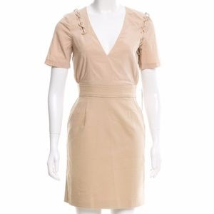 Mackage Dresses - Mackage Lace Up Nude Mini Dress Short Sleeve Vneck
